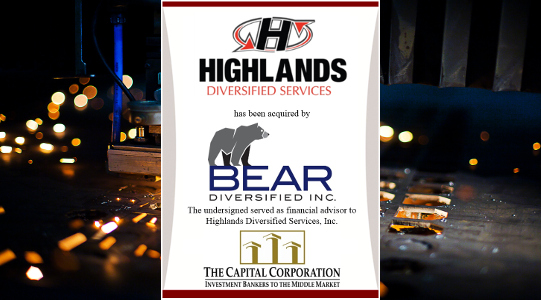The Capital Corporation advises Highlands Diversified Services, Inc. on its sale to Bear Diversified, Inc.