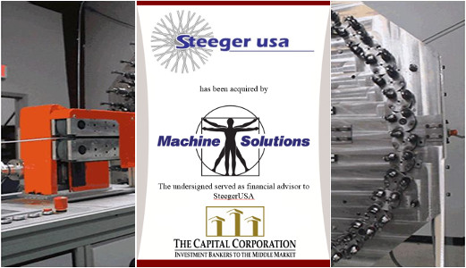 The Capital Corporation advises Steeger USA on its sale to Machine Solutions, Inc.